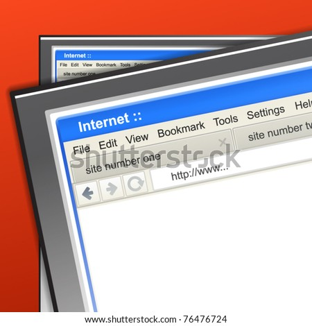 Opened browser windows on monitor of laptop - stock vector