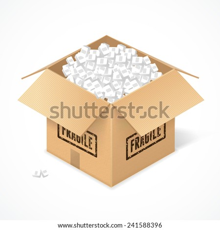 Opened cardboard box, isolated on white background. Package - stock vector