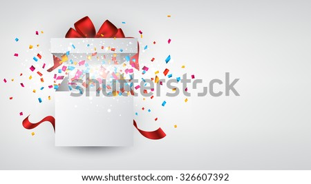 Opened 3d realistic gift box with red bow and confetti. Vector illustration. - stock vector