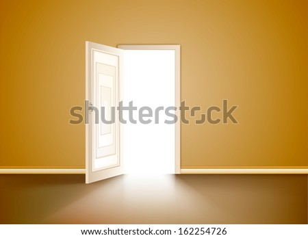 Opened door in the orange wall. Vector - stock vector