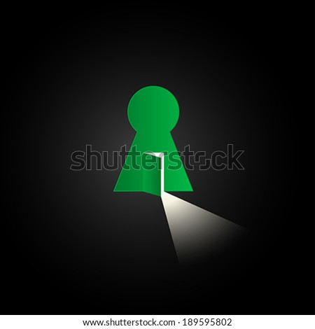 Opened door with bright light. Creative illustration of keyhole - stock vector