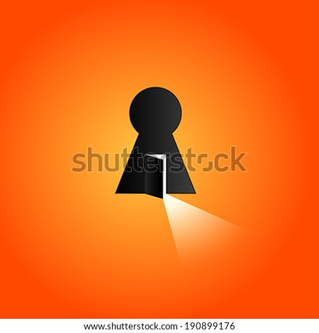 Opened door with bright light. Keyhole - stock vector
