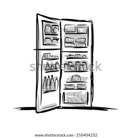 Opened fridge full of food, sketch for your design. Vector illustration - stock vector