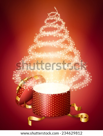 opened gift box, with abstract Christmas tree of sparks from it, holiday background, EPS 10 contains mesh. - stock vector