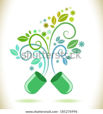 Opened green color pill with leaf and flowers, natural background, VECTOR - stock vector
