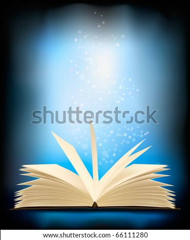 Opened magic book with magic light. vector illustration.