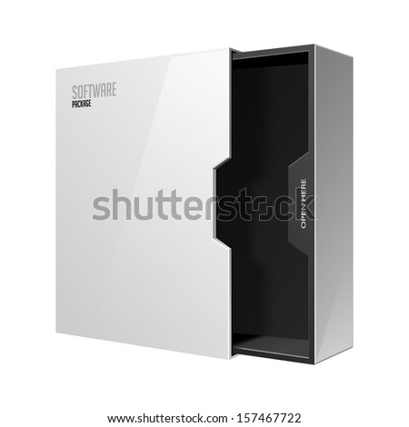 Opened Modern Software Package Box White Black Inside  With DVD Or CD Disk EPS10  - stock vector