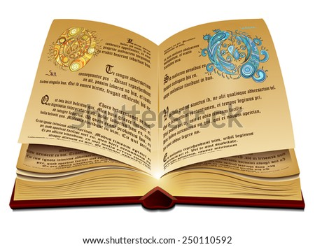 Opened old book in leather cover. Vector eps10. - stock vector