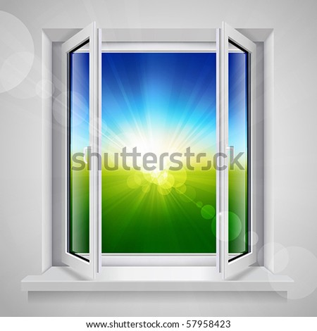 Opened plastic window with view of the green field - stock vector