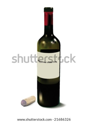 Opened red wine bottle with some wine in it. Realistic vector image. - stock vector
