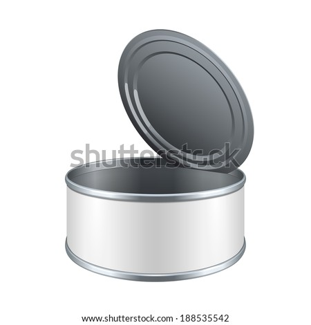 Opened Short Metal Tin Can, Canned Food With White Label. Ready For Your Design. Product Packing Vector EPS10