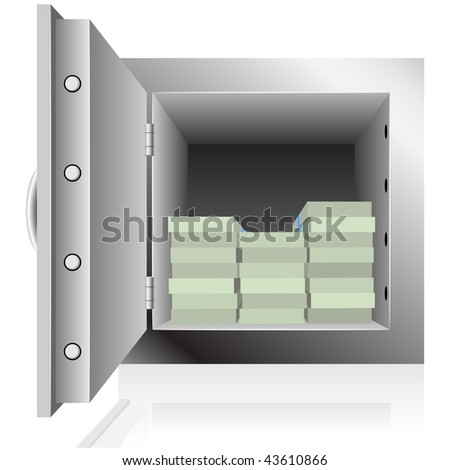 Opened steel safe filled with dollar notes packs isolated on white background. - stock vector