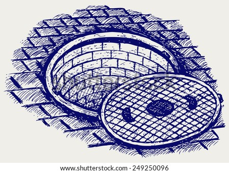Opened street manhole. Doodle style - stock vector