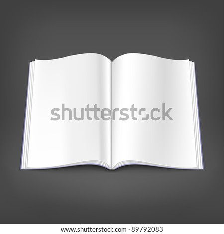 Opened white blank magazine spread on gray background. Journal empty pages created with shadow. This vector illustration saved on eps 10 file format - stock vector