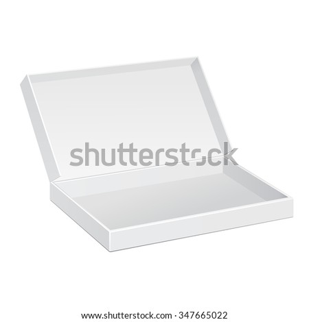 Opened White Cardboard Package Box. Gift Candy, Delicious, Sweets. Illustration Isolated On White Background. Mock Up Template Ready For Your Design. Product Packing Vector EPS10