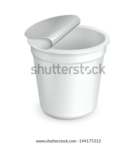 Opened White Cup Tub Food Plastic Container For Dessert, Yogurt, Ice Cream, Sour Sream Or Snack. Ready For Your Design. Product Packing Vector EPS10 - stock vector
