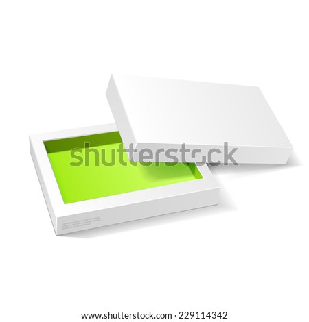 Opened White Green Cardboard Package Box. Gift Candy. On White Background Isolated. Ready For Your Design. Product Packing Vector EPS10  - stock vector