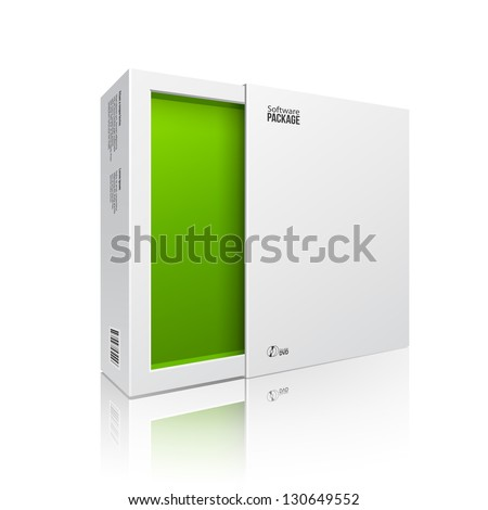 Opened White Modern Software Package Box Green Inside For DVD, CD Disk Or Other Your Product EPS10 - stock vector