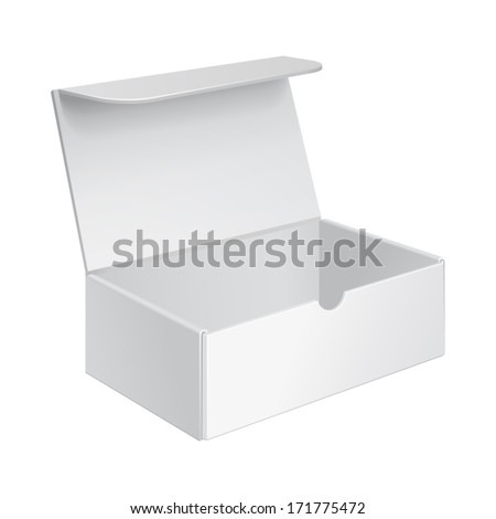 Opened White Product Cardboard, Carton Package Box On White Background Isolated. Ready For Your Design. Product Packing Vector EPS10 - stock vector