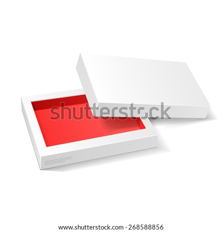 Opened White Red Cardboard Package Mock Up Box. Gift Candy. On White Background Isolated. Ready For Your Design. Product Packing Vector EPS10  - stock vector