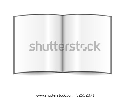 Opened white template isolated over white background