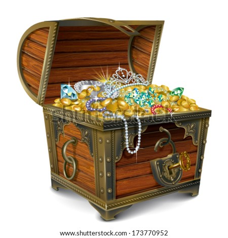 Opened wooden chest with treasures - stock vector