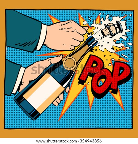 opening champagne bottle  pop art retro style. Wedding, anniversary, birthday or new year. Alcoholic beverages wine and restaurants. Drink. Explosion foam tube moment of triumph. Your brand here - stock vector