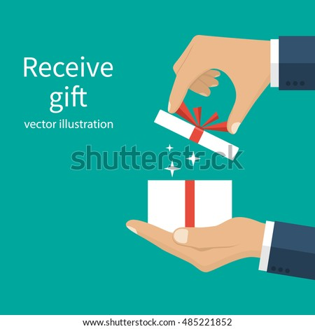 Opening gift holding hands men give stock vector 485221852 opening gift holding in the hands of men give presenting gift with red ribbon negle
