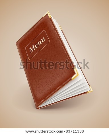 opening menu book with leather cover vector illustration