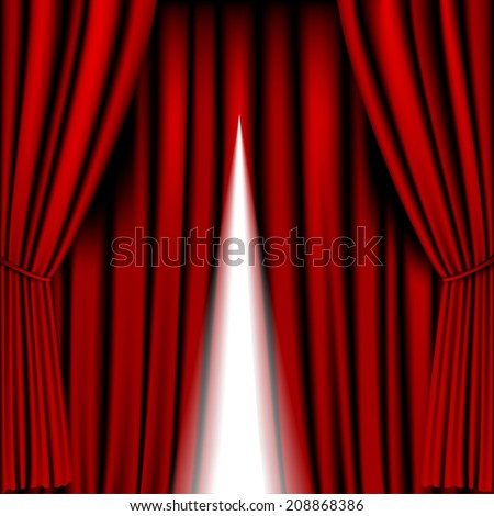 opening red curtain vector for background - stock vector
