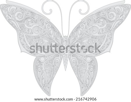 Openwork butterfly outline - stock vector