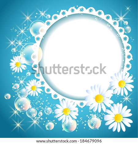 Openwork frame with daisy and bubbles on blue glowing background - stock vector