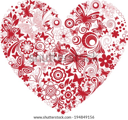Openwork heart - stock vector