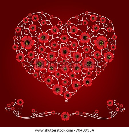 Openwork heart with poppies - stock vector