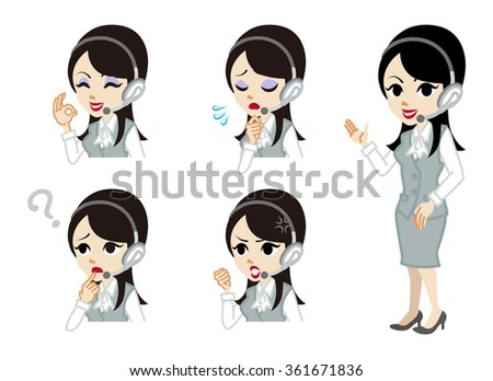 Operator full length and Facial expression set - stock vector