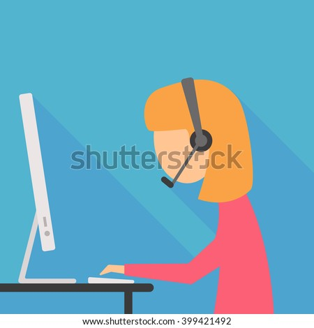 operator girl in vector flat design - stock vector