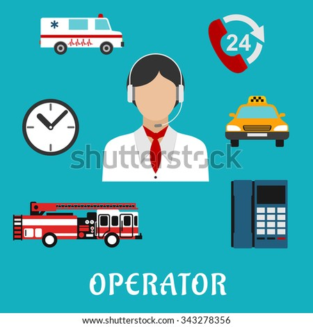 Operator of call center  or dispatcher profession flat icons with woman, headset and neckerchief, surrounded by handset with 24 hour support sign, clock, telephone, fire truck, ambulance and taxi car - stock vector