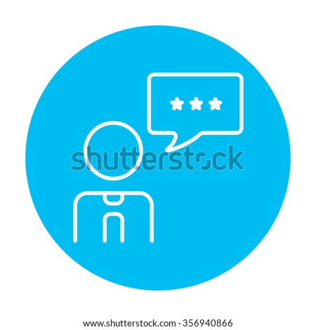 Operator of customer service with speech square line icon for web, mobile and infographics. Vector white icon on the light blue circle isolated on white background. - stock vector