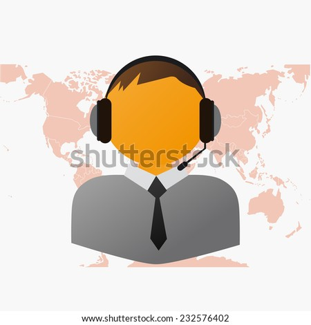Operator on the Line as a Support With World Map - stock vector
