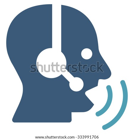Operator Signal vector icon. Style is bicolor flat symbol, cyan and blue colors, rounded angles, white background. - stock vector