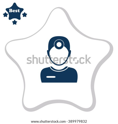 Ophthalmologist. Doctor. People at wark. Medical symbol. Vector icon. - stock vector