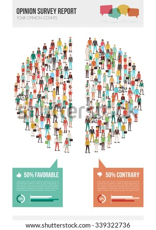 Opinion survey report with pie chart composed of people divided in half, statistics and demographics infographics - stock vector