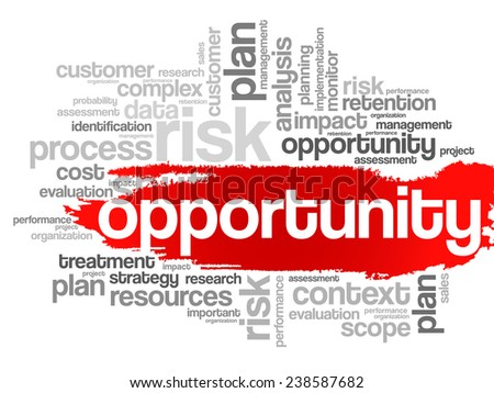 Opportunity and success concept in word tag cloud, vector background - stock vector