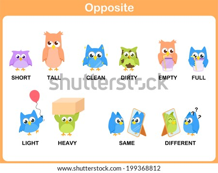 Opposite Word Preschool Short Tall Clean Stock Vector 199368812 ...