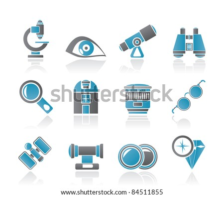 Optic and lens equipment icons - vector icon set - stock vector
