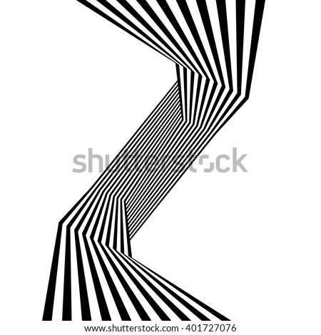 optical art, op-art striped wavy background. abstract waves black and white line stripes