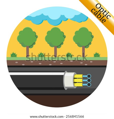 Optical cable laid underground. Vector illustration - stock vector