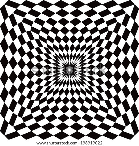 Optical Check Perspective pattern in black and white. - stock vector