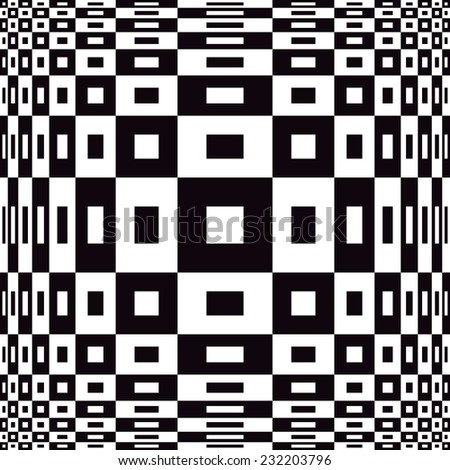Optical checkered pattern in black and white repeats seamlessly.  - stock vector