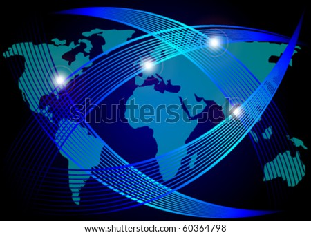 Optical Fibers Over Map of World - stock vector